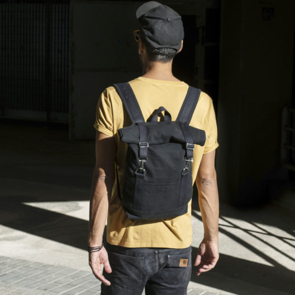 Roll top backpack black canvas with black stripes