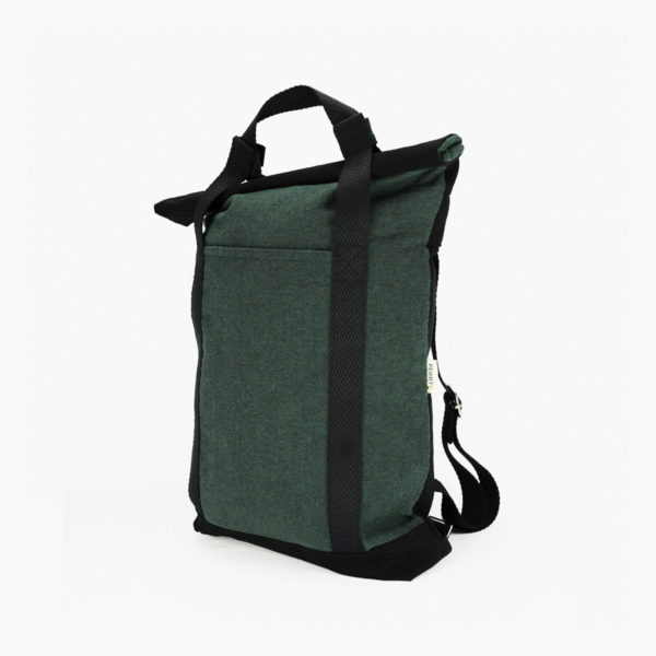 Convertible tote backpack dark green - black straps