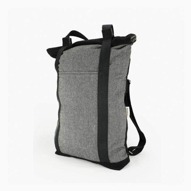 Convertible tote backpack grey - black straps