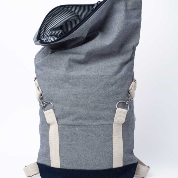 handmade blue roll top backpack