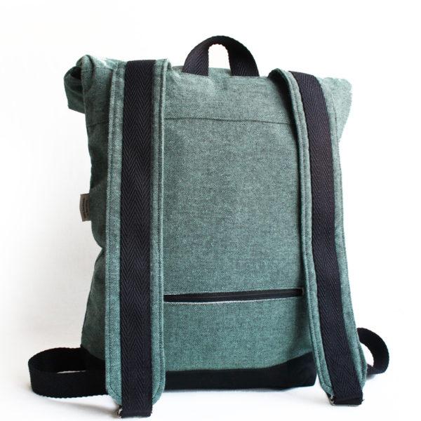 handmade green blue roll top backpack