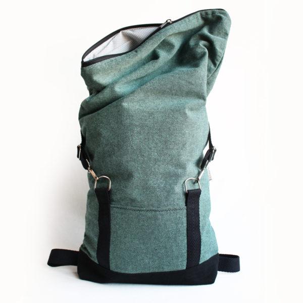 handmade green blue roll top backpack sac a dos