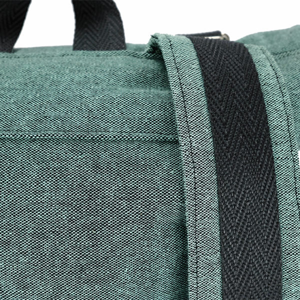 handmade blue green roll top backpack