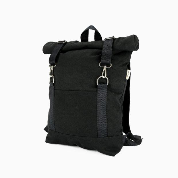 Roll top backpack black – reinforced black straps