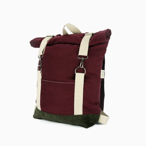 Roll top backpack burgundy red – reinforced white straps