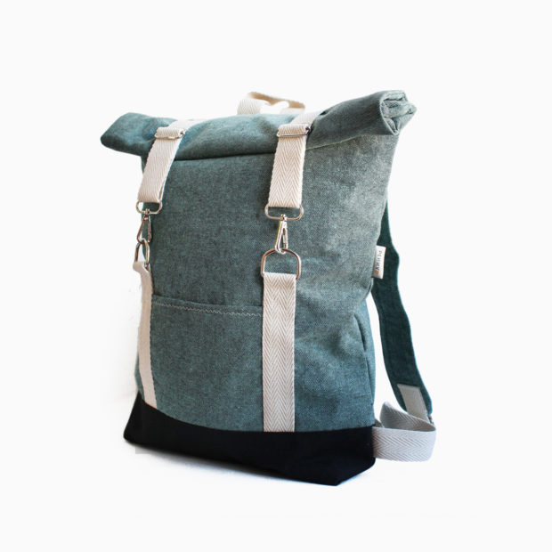 Roll top backpack green turquoise – reinforced white straps