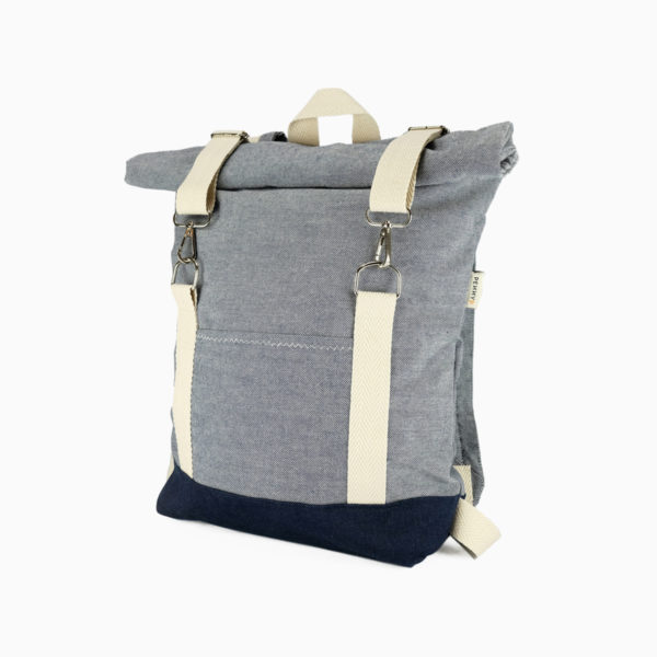 Roll top backpack light blue – reinforced white straps