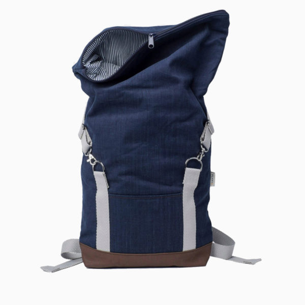 Roll top backpack navy blue – reinforced white straps