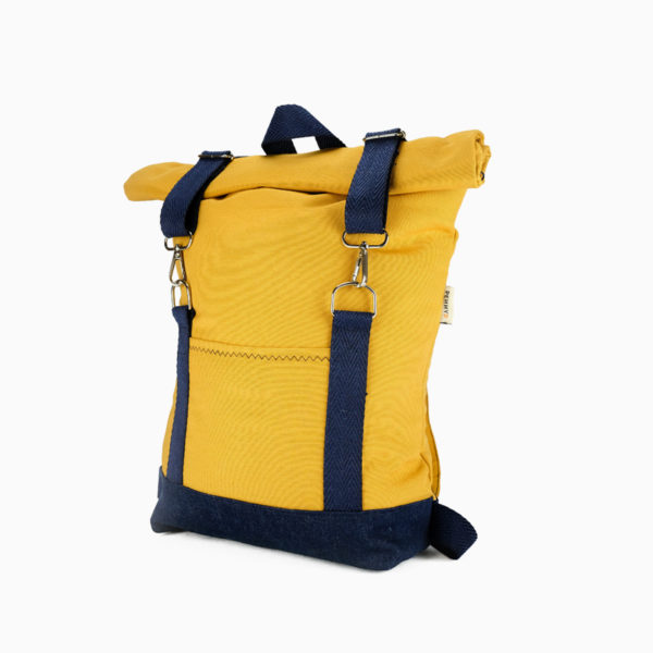 Rolltop backpack yellow mustard – reinforced blue straps