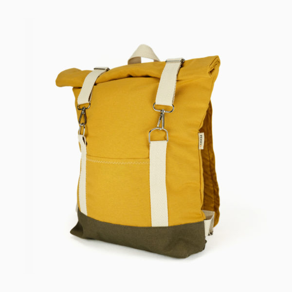 Roll top backpack yellow mustard – reinforced white straps 01