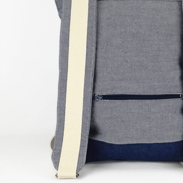Roll top backpack light blue canvas with white stripes