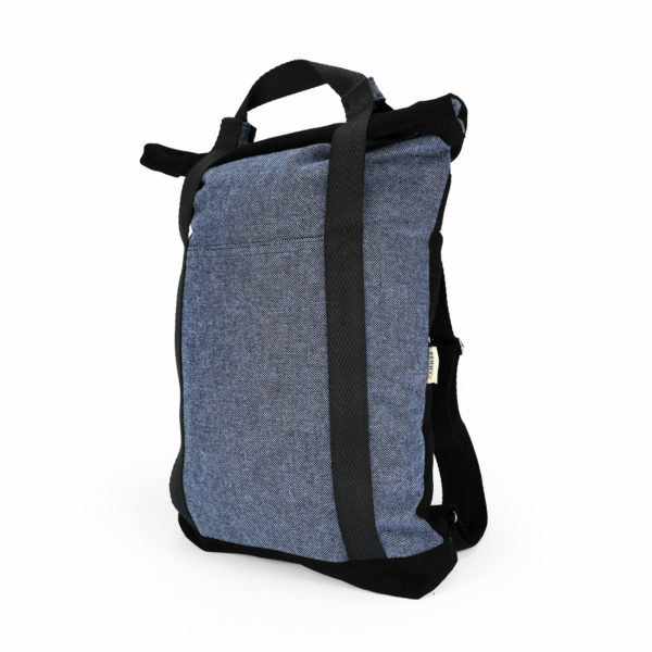 tote backpack indigo roll top