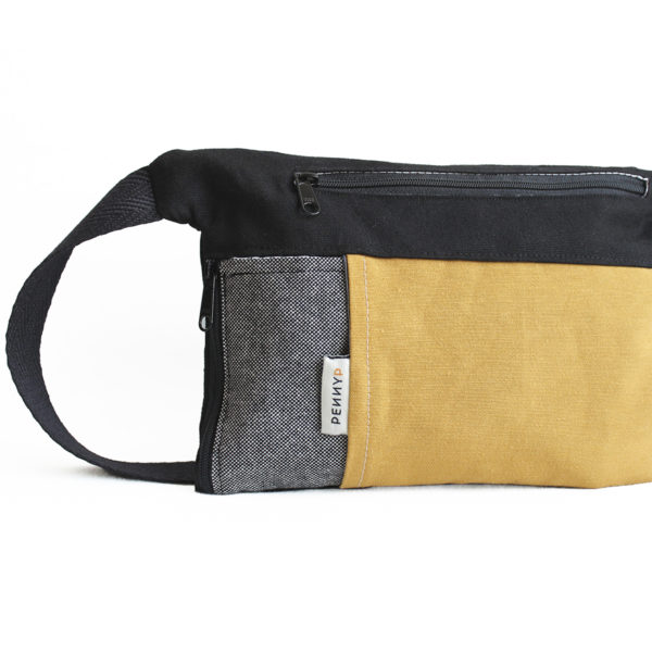 handmade grey yellow bum bag with water bottle holder