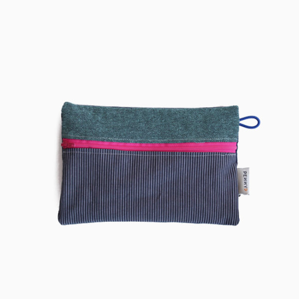 Medium pouch green blue stripes