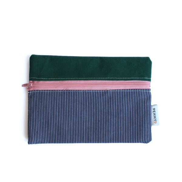 pouch green blue stripes