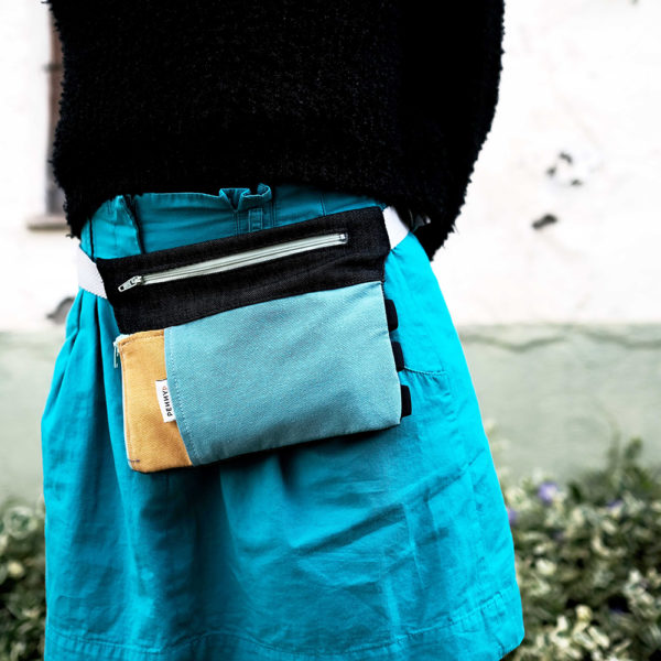 yellow blue fanny pack