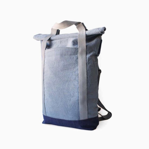 Convertible tote backpack light blue - white straps