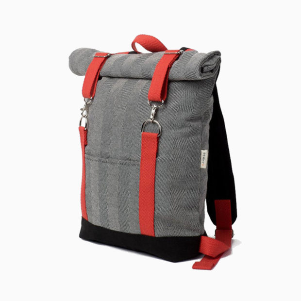 Roll top rucksack fishbone fabric – reinforced red straps