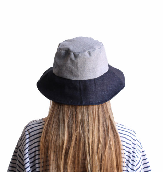 blue cotton bucket hat wide brim