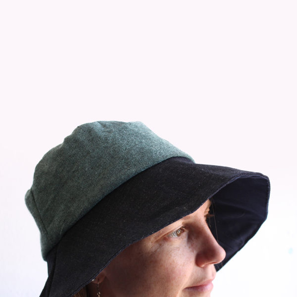 green blue cotton bucket hat wide brim