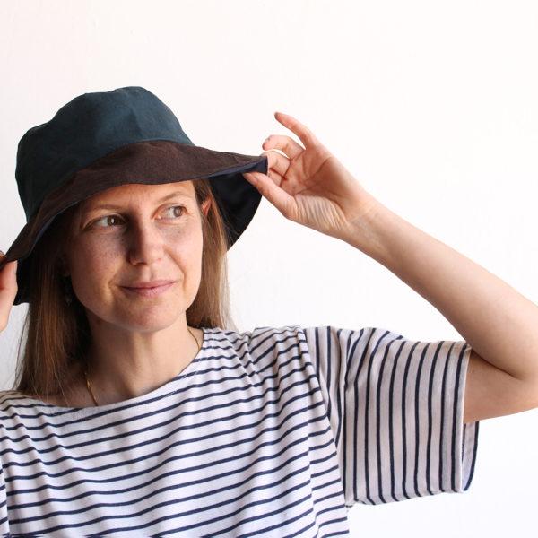 petrol green brown cotton bucket hat narrow brim