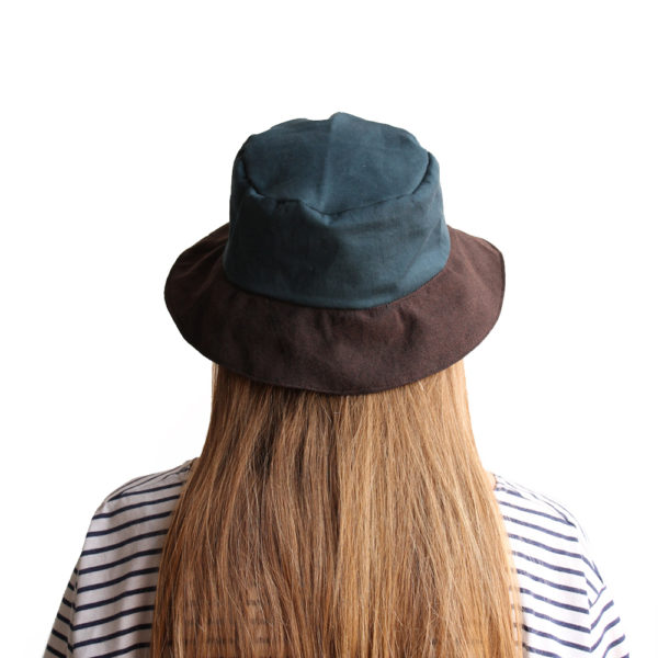 petrol green brown cotton bucket hat narrow brim