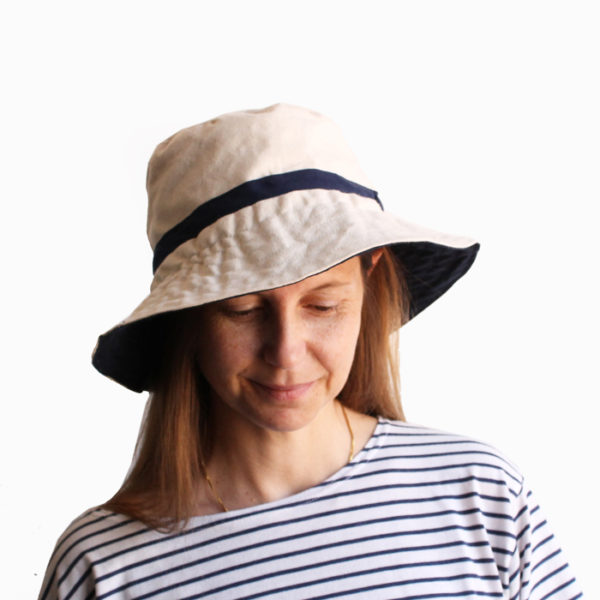 white cotton bucket hat wide brim