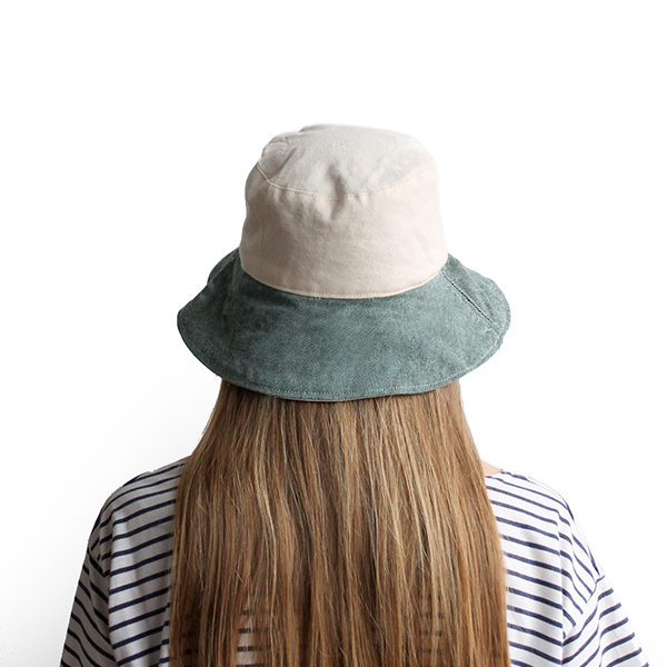 white green cotton bucket hat wide brim