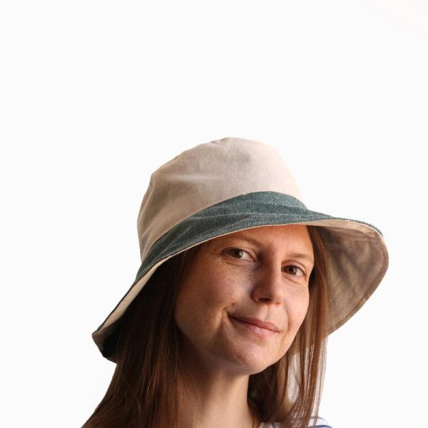 white green cotton bucket hat wide brim