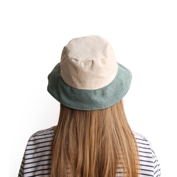 white green cotton bucket hat narrow brim