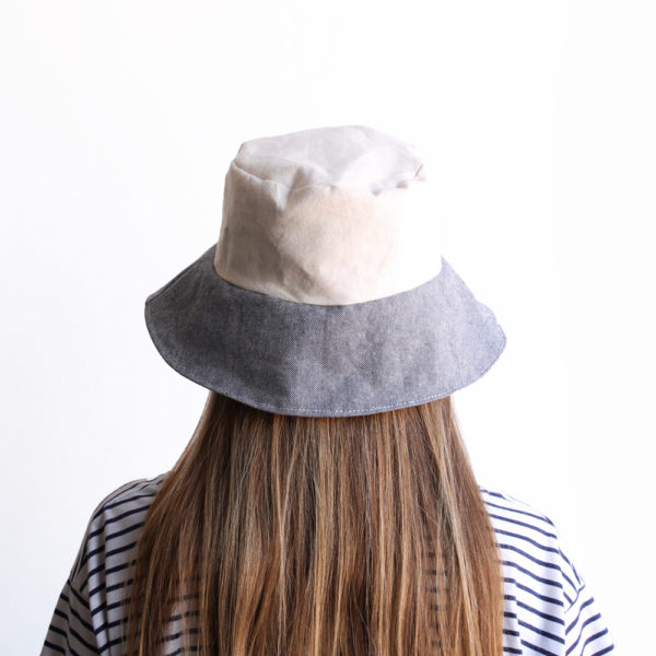 white blue bucket hat women