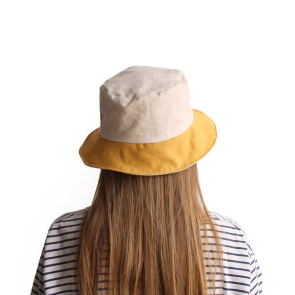 white yellow cotton bucket hat narrow brim