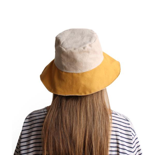 white yellow cotton bucket hat wide brim