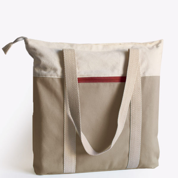 beige tote red recycled