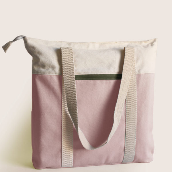 pink tote khaki recycled