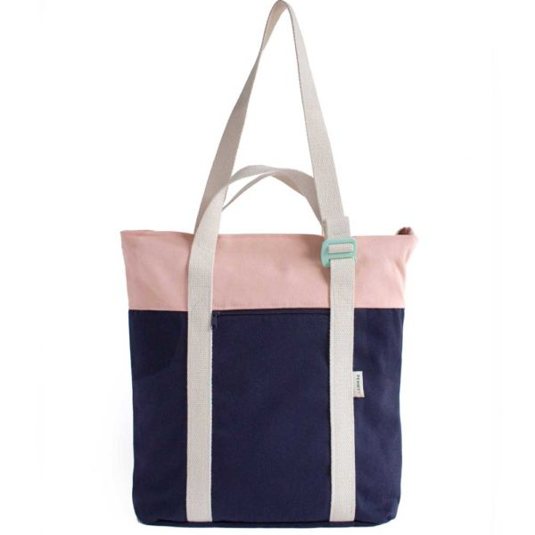 recycled convertible backpack blue pink