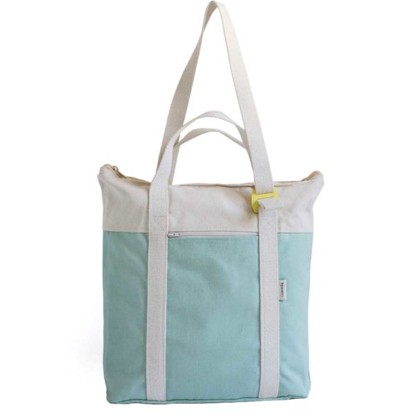 recycled convertible backpack mint ecru
